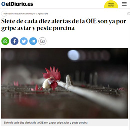 Seven out of ten OIE alerts are already for avian influenza and swine fever